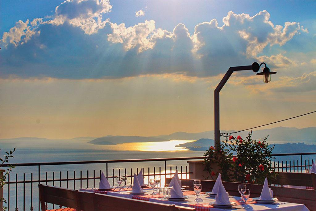 dalmatian tavern overlooking split and adriatic sea islands summer croatia split
